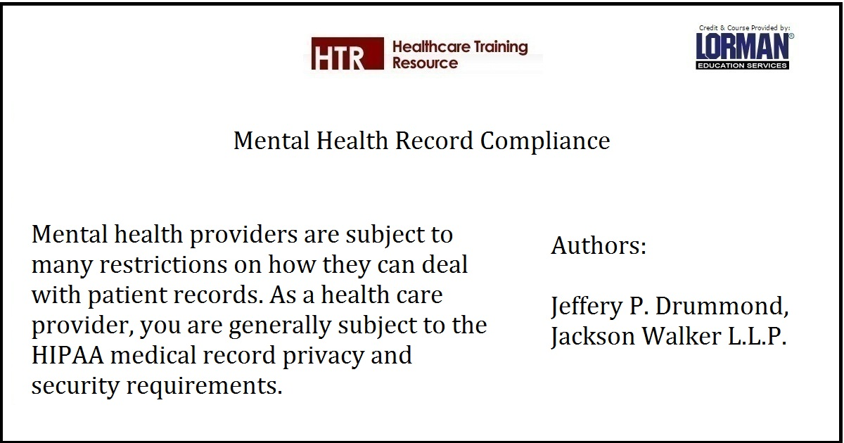 Mental Health Record Compliance