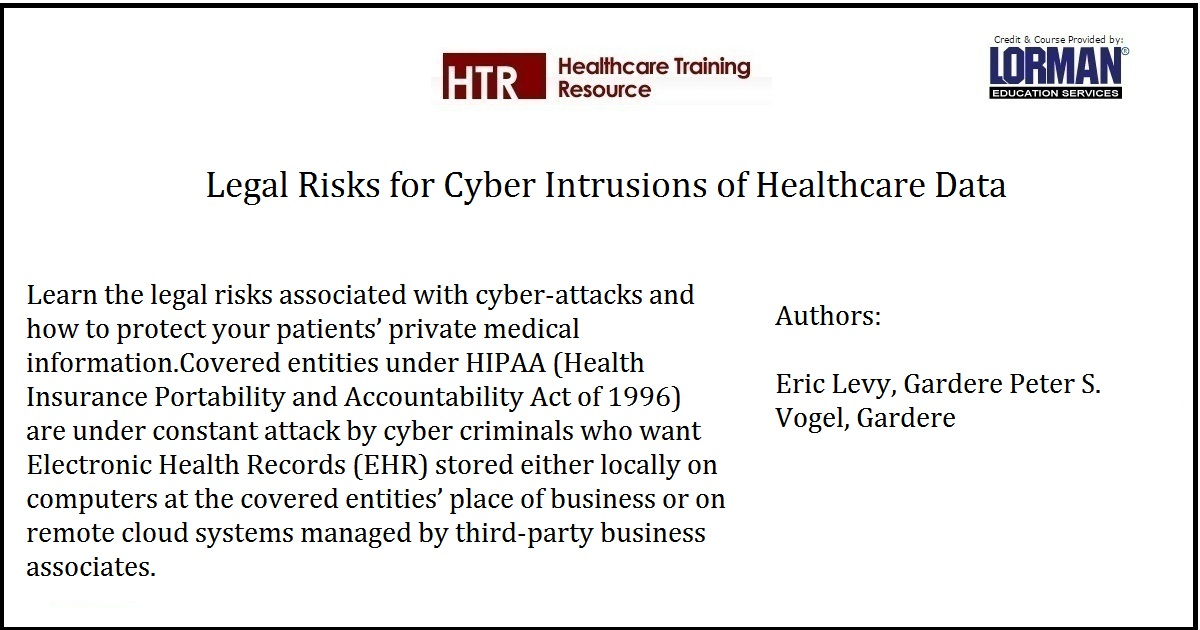 Legal Risks for Cyber Intrusions of Healthcare Data