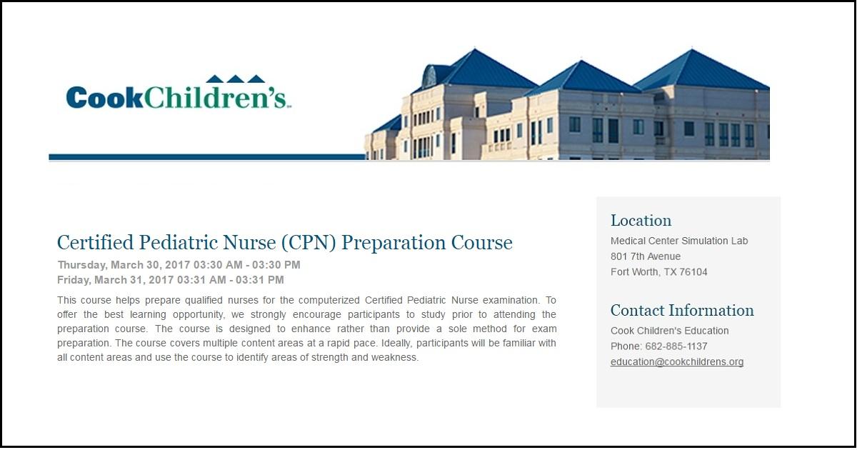 Certified Pediatric Nurse Cpn Preparation Course March 30 31