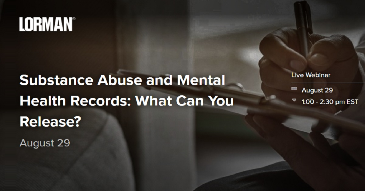 Substance Abuse And Mental Health Records What Can You Release