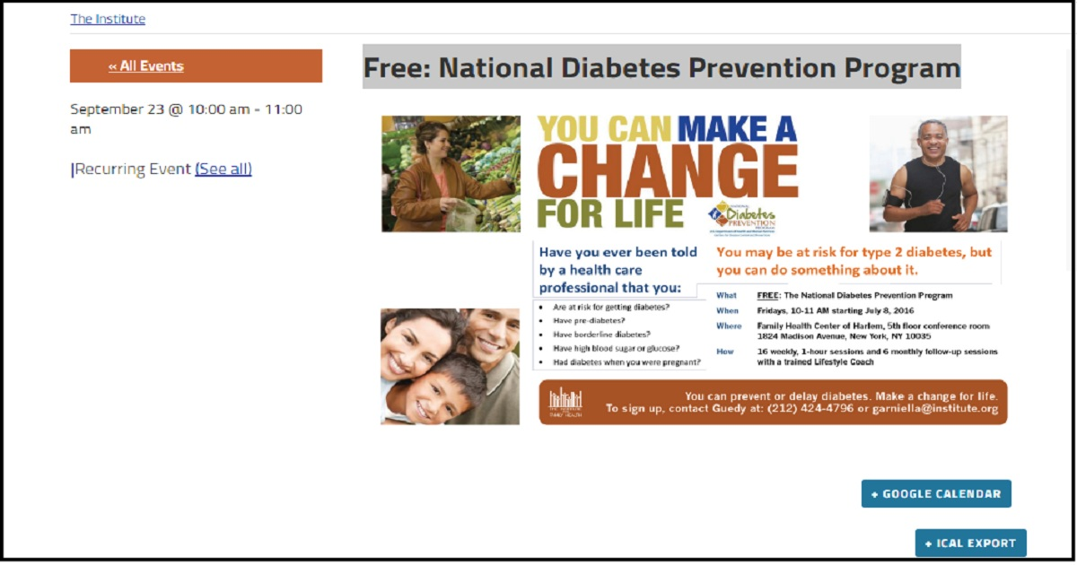 Free: National Diabetes Prevention Program