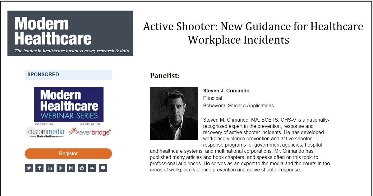 Active Shooter: New Guidance for Healthcare Workplace Incidents