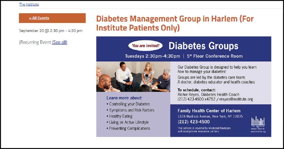 Diabetes Management Group in Harlem