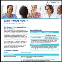 SAINT THOMAS HEALTH 2016 BENEFITS SUMMARY